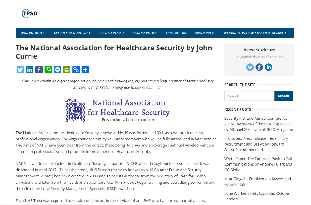 The National Association for Healthcare Security by John Currie