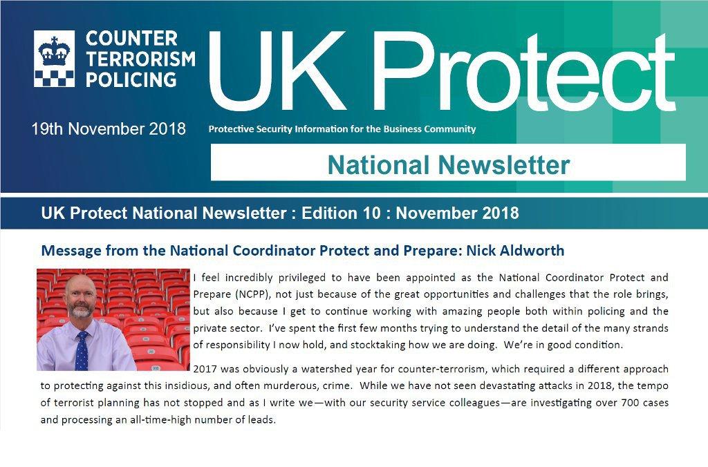 UK Protect National Newsletter, Edition 10 November 2018