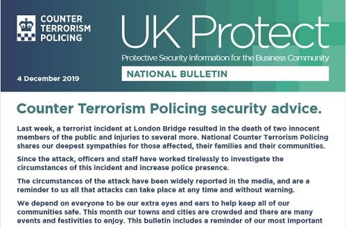 UK Protect Security Bulletin Dec 4th 2019