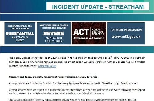 UK Protect - Incident Update - Streatham