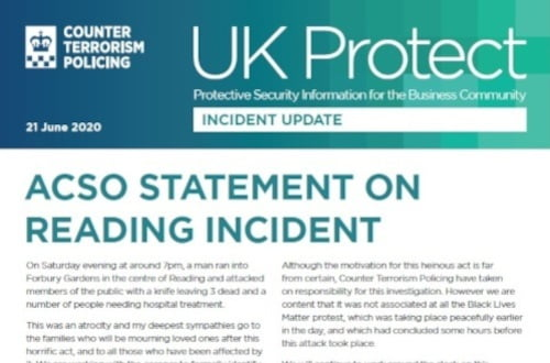 UK Protect ACSO Statement on Reading Incident